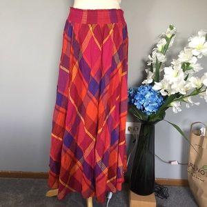 LIZ SPORTS vintage flannel red circle maxi skirt